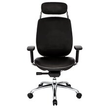 1 Series High-Back Leather Office Chair with Pivot Armrests