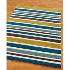 Rainbow Teal Tufted Rug