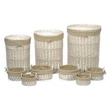 Tobs Willow Storage & Linen Basket in White 9 Piece Set