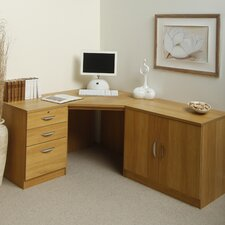 Home Office Solutions Writing Desk with Pedestal and Cupboard