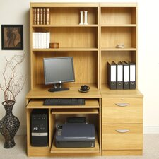 Home Office Solutions Computer Desk with Pedestal, Printer / CPU Storage and Inbuilt Bookshelves