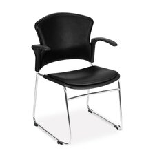 Multi Use Vinyl Seat and Back Stacker Chair with Removeable Arms (Set of 4)