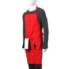 Apron in Red with Black and White Towel Set