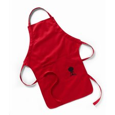 Barbecue Apron in Red with Black Kettle