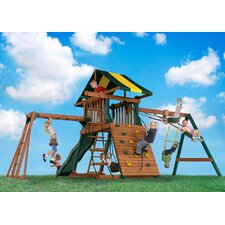 <strong>Backyard Play Systems</strong> Wood Castle Rock Swing Set