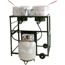 Double Basket Outdoor Cooker and Fryer with Double Burner
