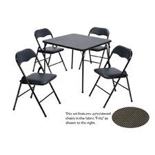 5 Piece Vinyl Card Table Set