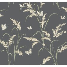 Black and White Tall Grass with Butterflies Wallpaper