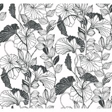 Black and White Leaf Outline Wallpaper