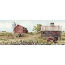Welcome Home Tractor/Barn Border Wallpaper