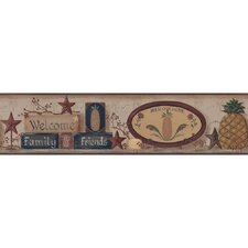 Welcome Home Welcome Pineapple Distressed Border Wallpaper