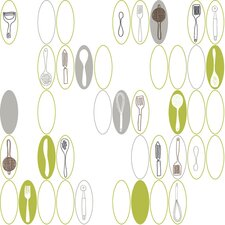 Bistro 750 Kitchen Utensils and Oval Wallpaper