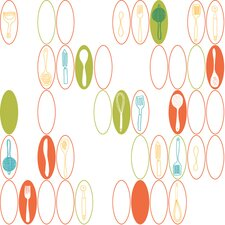 <strong>York Wallcoverings</strong> Bistro 750 Kitchen Utensils and Oval Wallpaper