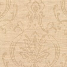Candice Olson Dimensional Surfaces Scrolling Damask on Grasscloth Wallpaper