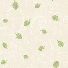 Peek-A-Boo Leaf Scroll Wallpaper