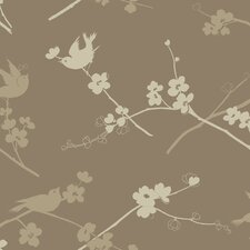 <strong>York Wallcoverings</strong> Silhouettes Cherry Blossom Bird Wallpaper