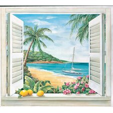 Portfolio II Trompe L'Oiel Tropical Paradise Window Accent Wall Mural