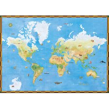 Portfolio II Topographical World Map with Animal Pictures Wall Mural