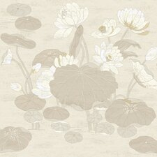 Aged Elegance II Lotus Scroll Wallpaper