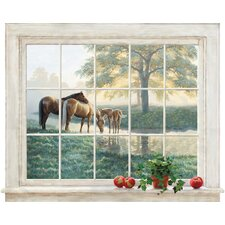 Portfolio II Trompe L'Oiel Mare and Foal Framed Accent Wall Mural