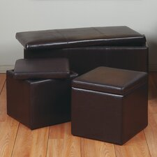 3 Piece Eco Leather Ottoman
