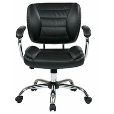 Faux Leather Task Chair with Padded Arms and Chrome Accents