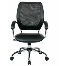Designer Screen Back Managers Chair with Faux Leather Seat and Chrome Accents