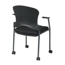 Titanium Finish Stacking Visitors Chair with Arms and Casters, FreeFlex Fabric