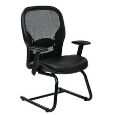 Office Star Space Seating Professional Breathable Mesh Back Visitors Chair with Eco Leather Seat