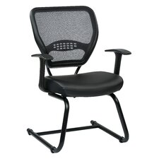 "Space Seating 18.5"" Professional AirGrid Back Visitors Chair with Eco Leather Seat"