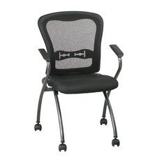 <strong>Office Star Products</strong> ProLine II Deluxe Folding Chair with ProGrid Back and Arms in Titanium (2-Pack)