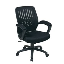<strong>Office Star Products</strong> Screen Back Over Designer Contoured Shell Office Chair with Padded Faux Leather Arms