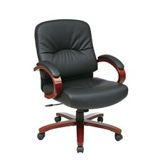 Leather Office Chair with Wood Base