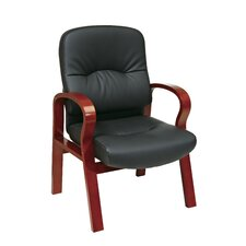 <strong>Office Star Products</strong> Leather Visitors Chair with Wood Base and Arms