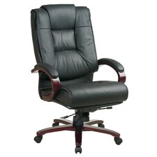 <strong>Office Star Products</strong> Leather High-Back Office Chair with Arms