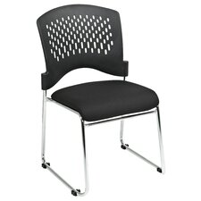 <strong>Office Star Products</strong> Plastic Back SpringFlex Fabric Seat Visitors Office Chair with Chrome Frame Sled Base, Gangable and Stackable (Set of 4)