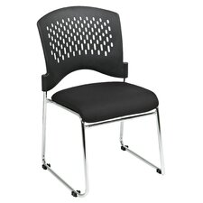 <strong>Office Star Products</strong> Plastic Back SpringFlex Fabric Seat Visitors Office Chair with Chrome Frame Sled Base, Gangable and Stackable (Set of 20)