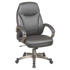 <strong>Office Star Products</strong> Back Leather Deluxe Faux Office Chair with Coated Frame and Padded Arms