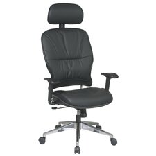 Space Seating Mid-Back Leather Managerial Chair with 2-Way Adjustable Headrest