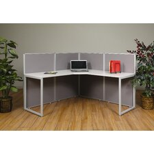 Box Office Four Panels and 90 Degree L Shape Desk