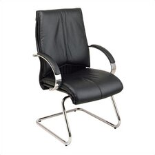 Deluxe Leather Visitors Chair with Chrome Base