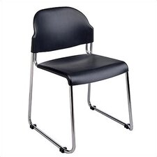 2-Pack Stack Chair with Black Plastic Seat and Back with Chrome Frame (Set of 2)