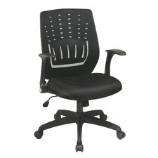 Screen Back Chair with Contoured Designer Back and Flip Arms