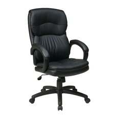 High-Back Eco Leather Executive Office Chair with Padded Arms