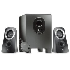 <strong>Logitech, Inc</strong> Speaker System, 25 Watts, 1 Subwoofer, 2 Satellite Speakers, Black