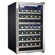 35 Bottle Wine Cooler in Black with Stainless Steel Door Trim