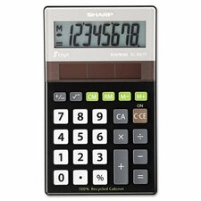 EL-R277BBK Recycled Series Handheld Calculator, 8-Digit, LCD, Black