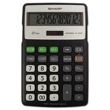 EL-R287BBK Recycled Series Calculator w/Kick-stand, 12-Digit, LCD, Black