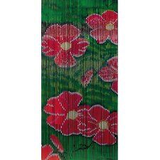Red Flower Bamboo Curtain