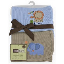 Just Born Thermal Blanket in Brown Lion and Blue Elephant (Set of 2)